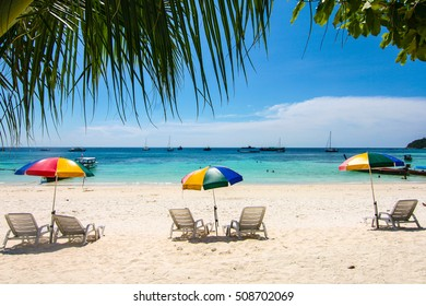 Chairs and umbrellas in Pattaya beach at Koh Lipe, (Lipe Island), Tarutao National Marine Park, Satun Province, the southern part of Thailand
