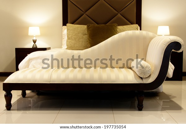 Chaise Lounge Cream Chaise Lounge Bedroom Stock Photo Edit Now 197735054