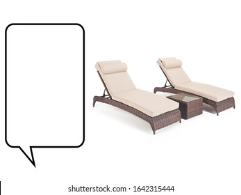Chaise Lounge Isolated on White Background. Pool Recliners. Set of Garden Wicker Reclining Chairs. Beach Long Chair with Arm Handles and Soft Cushions. Patio and Outdoor Furniture. Rattan Loungers