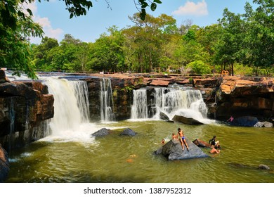 Chaiyaphum Province, Thailand - April 11, 2019 : People travel to Tat Ton Waterfall or Namtok Tat Ton in Thai Language at Tat Ton National Park