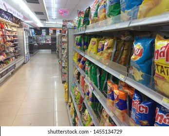 CHAIYAPHUM, THAILAND, July, 2019. Inside a store named '7-11', it's the most famous convenient store in Thailand. The shelf fully with daily life products in variety brands.