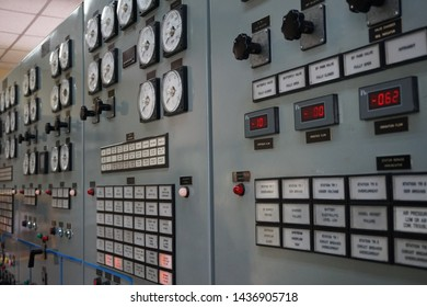 Chaiyaphum, Thailand - Jun 17, 2019: Control panel board of the Electricity Generator inside the Lam Pa Tao Dam