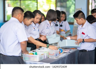 Chaiyaphum, Thailand-June 20, 2019: Science exhibition outdoor for student in countryside, student learning and study science concept from playing, staff teaching and talking knowledge to people