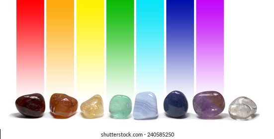 Chakra Healing Crystals -  Row of chakra colored tumbled gem stones in a row on a white background with the corresponding chakra color above each stone