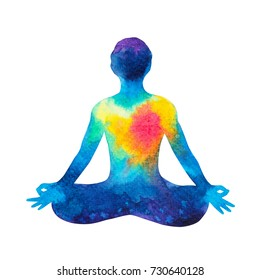chakra human lotus pose yoga, abstract world, universe inside your mind mental, watercolor painting hand drawn, clipping path