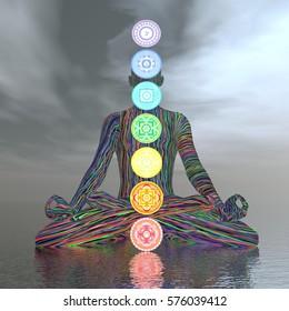 Chakras cloudy meditation - 3D render