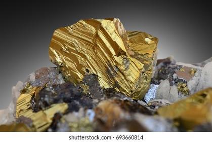 Chalcopyrite crystal from Rozalia mine, Hodrusa-Hamre, Banska Stiavnica region, Slovakia.