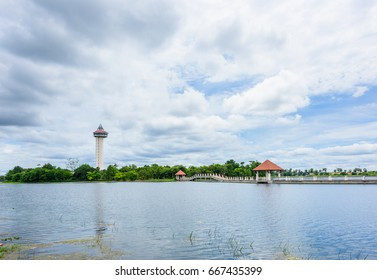Chalermprakiat Tower at Koh Klang nam public park in Sisaket, Thailand.