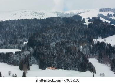 chalet in the mountains alps austria ski resort