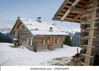 Chalet in mountains, Luesener Alm, Dolomite Alps, South Tyrol, Italy