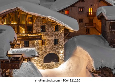 A chalet in the snow taken in Val d'Isere Tignes in the French Alps ski resorts mountains of France
