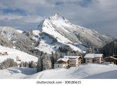 Chalets and farmhouses, near Mount Biberkopf, Warth am Alberg,Vorarlberg, Austria