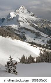 Chalets near the village of Warth-Schröcken, and Mount Biberkopf, Warth am Alberg,Vorarlberg, Austria