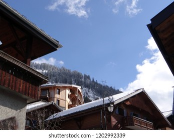 Chalets in small alpine village of Chatel, France