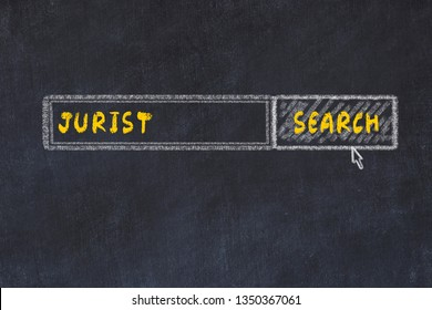 Chalk board sketch of search engine. Concept of searching for jurist