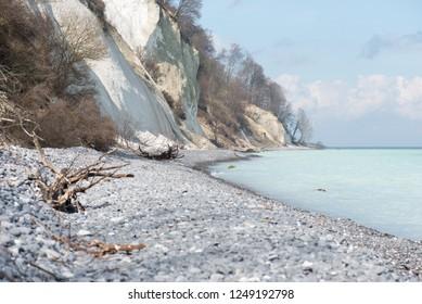 Chalk cliff landscape on Moens Klint in Denmark