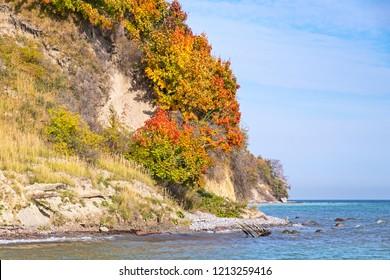 Chalk cliffs at the coastline of the Rugen Island near Sassnitz (Mecklenburg-Vorpommern, Germany). The Jasmund National Park is a nature reserve in the northeast of Rugen Island in Mecklenburg.