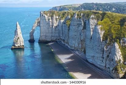 Chalk cliffs at Cote d'Albatre. Etretat, France