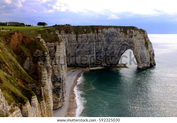 Chalk Cliffs Etretat Normandy France Stock Photo Edit Now 592325030