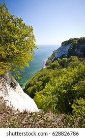 Chalk cliffs in Jasmund National Park. Ruegen is Germany's largest island. Located in the Baltic Sea and belongs to the state of Mecklenburg. Sandy beaches, lagoons and open bays.