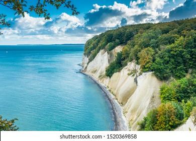The Chalk Cliffs of Rugen Island, Huge Boulders in the Baltic Sea, Jasmund National Park, Rugen Island, Rügen
