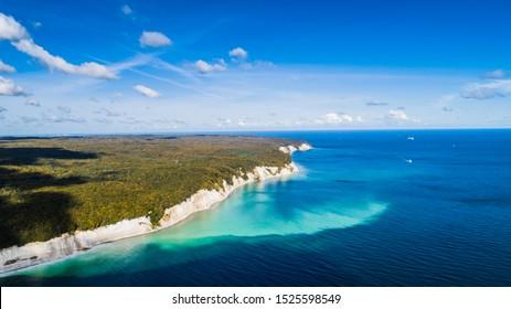 The Chalk Cliffs of Rugen Island, Huge Boulders in the Baltic Sea, Jasmund National Park, Rugen Island, Rügen from a bird's eye view