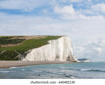 The chalk cliffs of the south coast of England, viewed from Cuckmere Haven in East Sussex.  Part of the South Downs National Park