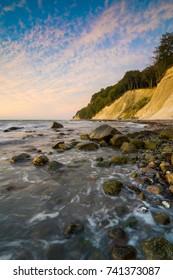 Chalk coast of Ruegen Island on the Baltic Sea at dawn