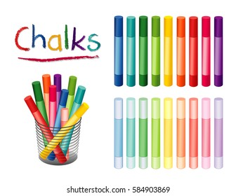 Chalk Crayons in desk organizer, 18 rainbow colors including pastels, for back to school, home, office, art and craft projects, scrapbooks, isolated on white background.