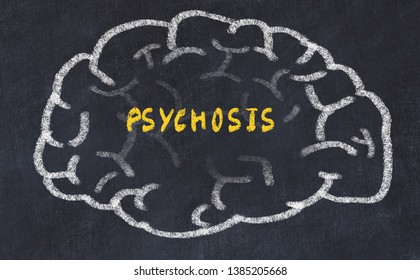 Chalk drawing of human brain with inscription psychosis.