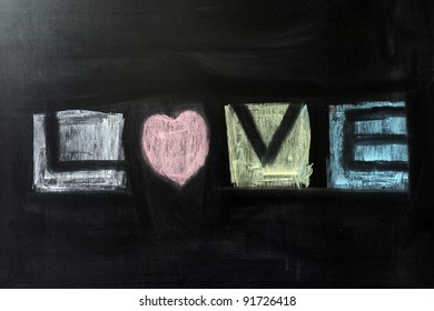 Chalk drawing - Love word written on chalkboard