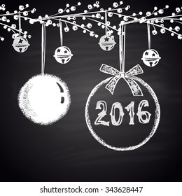 Chalk drawn horizontal seamless pattern with Christmas balls and 2016. Happy New 2016 Year theme. Border collection. Card design.