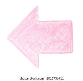 Chalk figure isolated on white background. Chalk hand drawn design element: pink arrow