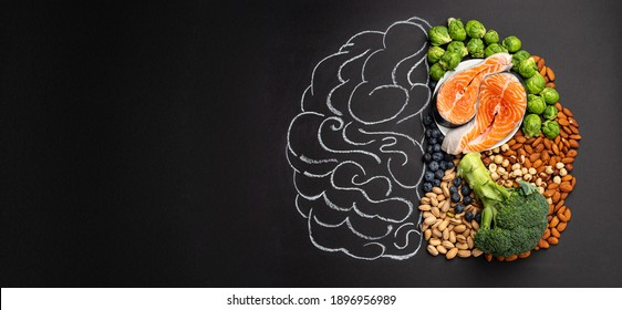 Chalk hand drawn brain picture with assorted food for brain health and good memory: fresh salmon, vegetables, nuts, berries on black background. Foods to boost brain power, top view, copy space   - Shutterstock ID 1896956989