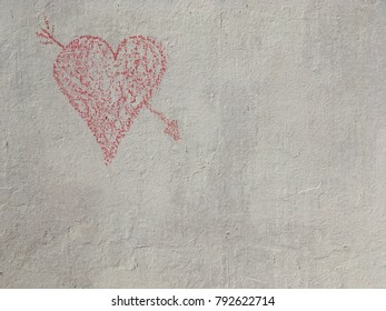 Chalk heart with arrow top right