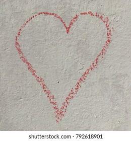 Chalk heart outline square