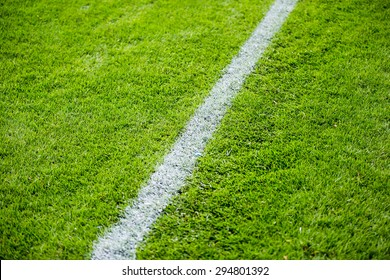 Chalk line on the football or soccer field