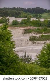 A chalk mine in Mielnik with a rainbow in the background. Podlasie. Podlachia. Poland, Europe. The region is called Podlasko or Podlasze