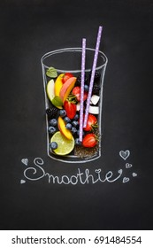Chalk painted glass with fresh food ingredients for blending smoothie on chalkboard.
