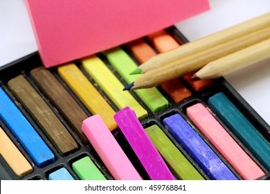Chalk and pencil are colorful