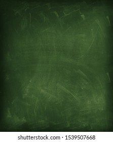 Chalk rubbed out on green chalkboard vertical background