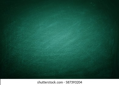 Chalk rubbed out on green blackboard background, texture for abstract design.