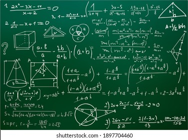 Chalk scribbles on a math board. Blackboard, formulas, shapes, geometry. The concept of education. Illustrations can be used to return to the school topic, algebra, natural sciences