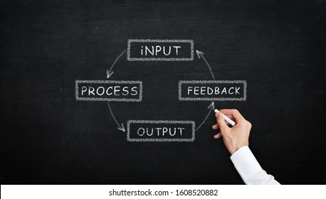 chalk writing Input Process Output Feedback diagram concept with chalk on the blackboard