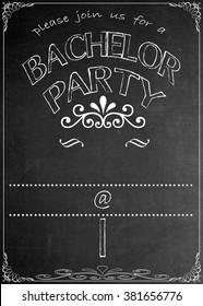 Chalkboard Bachelor  Party Invitation Blackboard Bachelor  Party Celebration Invitation. Just add your  text in the empty spaces  to suit your location, date, name, etc.