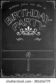 Chalkboard Birthday  Party Invitation Blackboard Birthday Party Celebration Invitation. Just add your  text in the empty spaces  to suit your location, date, name, etc.