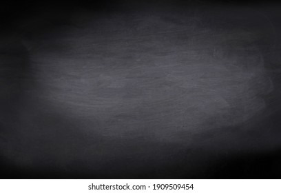 Chalkboard black board texture abstract background with grunge dirt white chalk rubbed out on blank black billboard wall, copy space, element can use for wallpaper education communication backdrop