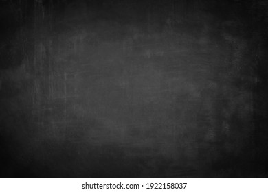 Chalkboard or black board texture abstract background with grunge dirt white chalk rubbed out on blank black billboard wall, copy space, element can use for wallpaper education communication backdrop