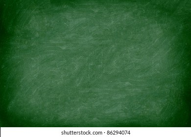 Chalkboard / blackboard green. Empty blank with copy space for chalk text. Used feel with chalk traces and great texture. From Photo.