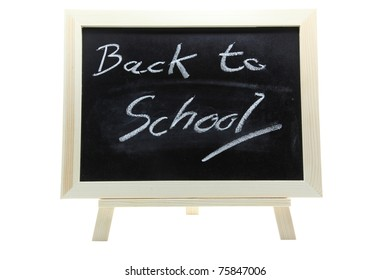 chalkboard or blackboard on a white background with text Back to School